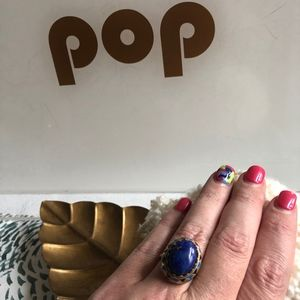 Amrapali for Lucky Brand Blue Oval Ring Size 8
